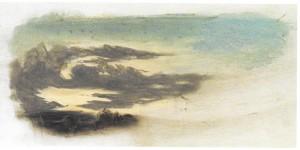 Théodore DEVILLY, Nuages, XIXe s. (pastel sur papier, 17,1 x 36,2 cm, Musées de la Cour d'Or, Metz)