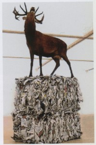 Gloria Friedmann, Envoyé Spéciale, 1995 cerf naturalisé, fer, plâtre et ballot de journaux recyclés 180X80X170 cm Courtesy galerie centhuit