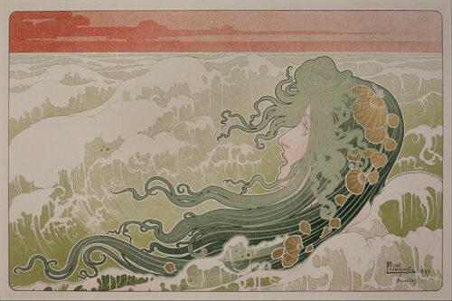 Henri Privat-Livemont, La Vague, 1897, lithographie, 32 x 49,4 cm, Zimmerli Art Museum at Rutgers University
