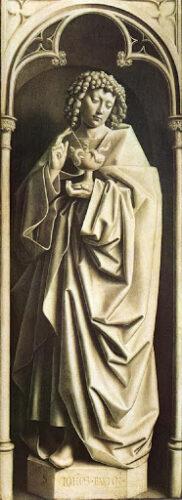 Jan et Hubert van Eyck, Retable de l'agneau mystique, (détail) 1432, huile sur panneaux de bois, 350 x 460  cm, Gand, cathédrale Saint-Bavon