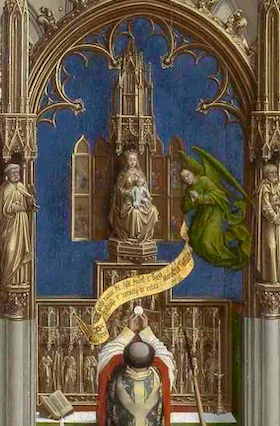 Rogier VAN DER WEYDEN, Retable des sept sacrements, vers 1445 (panneau central : l'eucharistie, détail), huile sur bois, 200 × 97 cm, Anvers, Musée royal des Beaux-Arts.