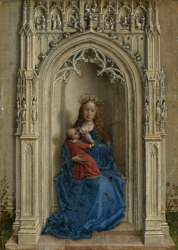 Rogier VAN DER WEYDEN, Vierge à l'enfant, 1433, huile sur bois, 14,2 x 10,5 cm, Madrid, Fondation Thyssen-Bornemisza